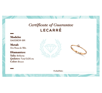 Solitario LeCarré oro rosa con diamante BTE imagen 2