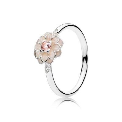 anillo pandora flor rosa
