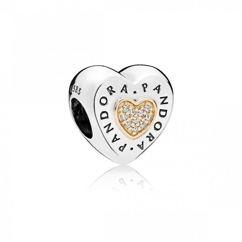 Abalorio Pandora corazon logo oro y plata.