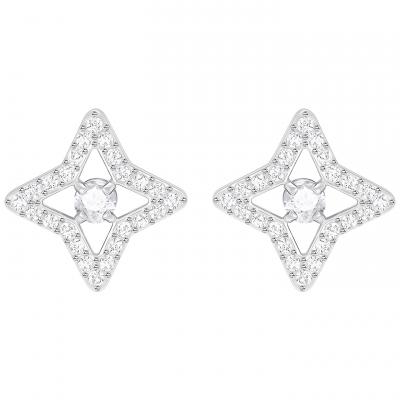 Pendientes de botón Sparklin Dance Star blanco