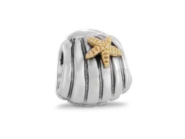 Abalorio Pandora concha con estrella de plata y oro