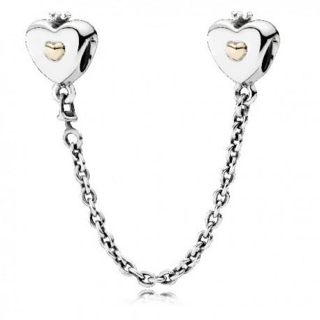 Cadenita de Seguridad Pandora plata y oro corazón