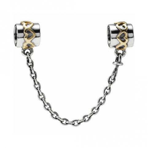 Cadenita de Seguridad Pandora plata y oro corazones