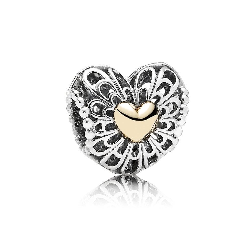 Abalorio Corazón Vintage Pandora oro y plata