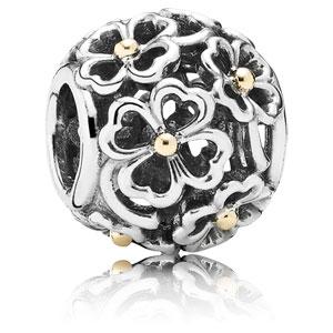 Abalorio Pandora calado openwork oro y plata
