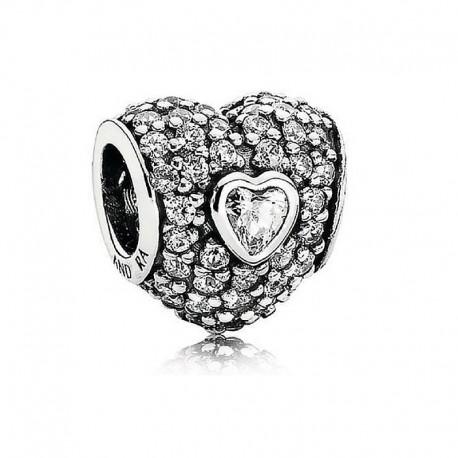 Charm Pandora triple corazón pave blanco