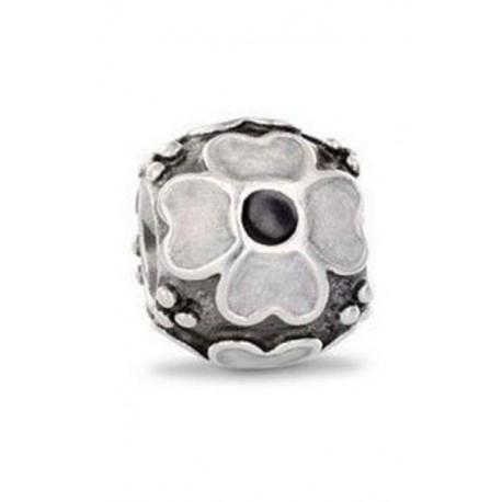 Charm Pandora margarita flor esmalte blanco y negro