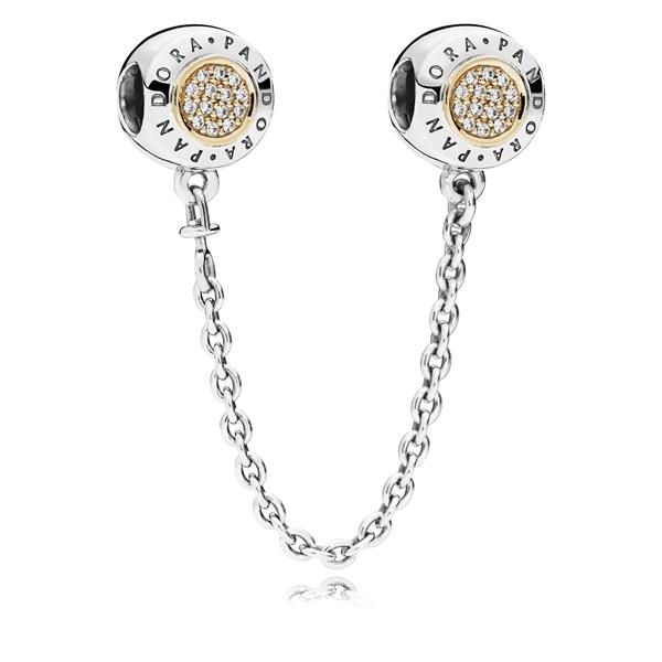 Cadenita de seguridad Pandora Logo plata y oro