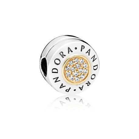 Clip Pandora Logo oro y plata