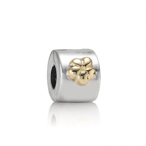 Clip Pandora plata y oro flor