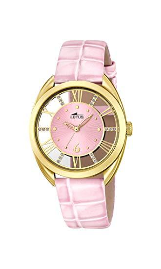 Reloj Lotus con la caja dorada transparente