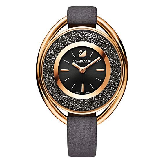 Reloj Swarovski Crystalline Ovale piel negra