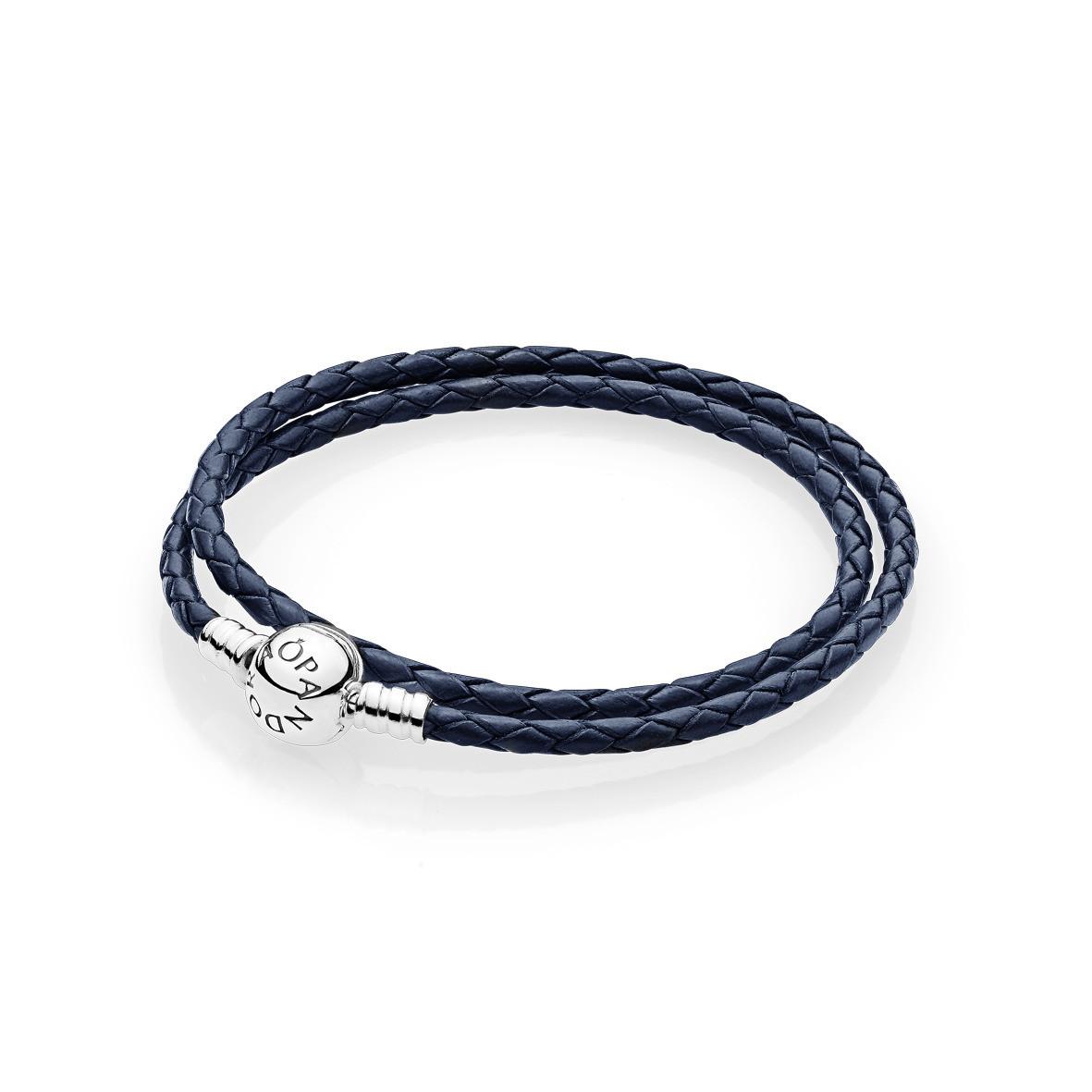 Pulsera Pandora Cuero azul marino