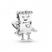 Charm en plata de ley Bella Bot Floral