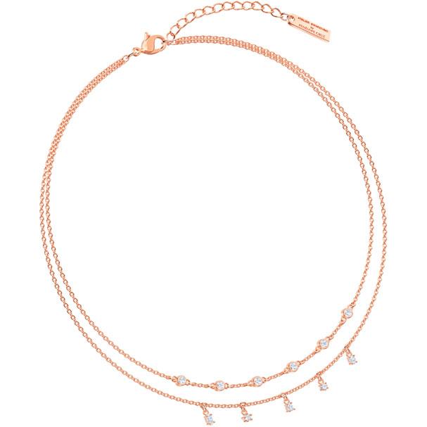Collar doble Penélope Cruz Moonsun, blanco, baño de oro rosa
