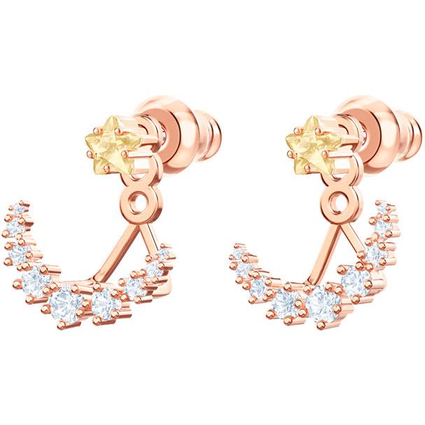Pendientes Ear Jacket Penélope Cruz Moonsun, blanco, baño de oro rosa