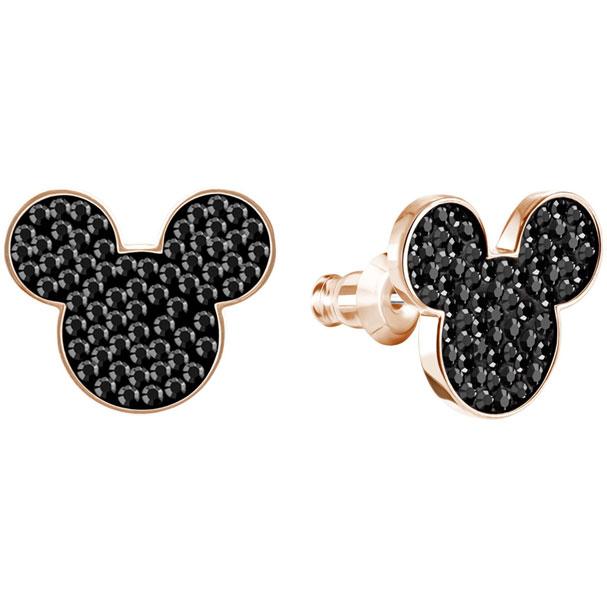 Pendientes Mickey & Minnie, negro, baño de oro rosa