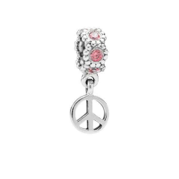 Abalorio Pandora colgante simbolo de la paz con circonitas rosas.