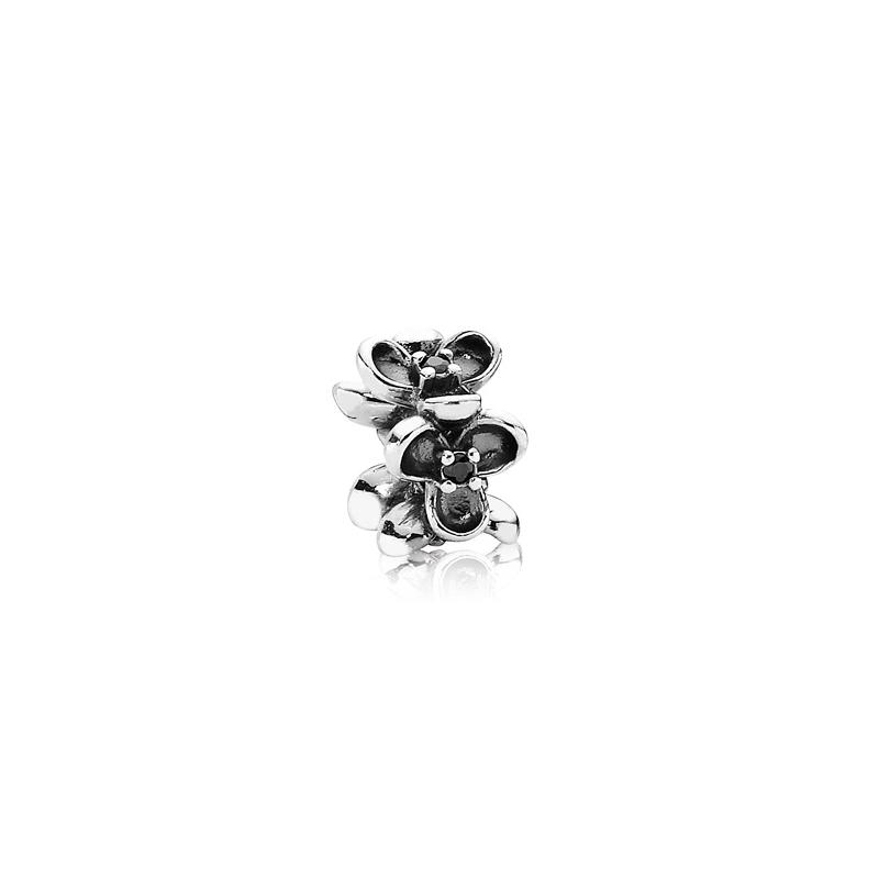 Abalorio Pandora flores con circonita negra