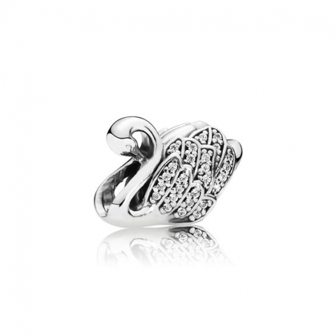Abalorio Pandora Cisne plata y circonitas