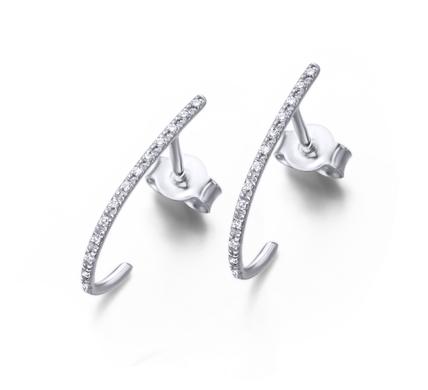 Pendientes Aro Alargado Oro Blanco Diamantes
