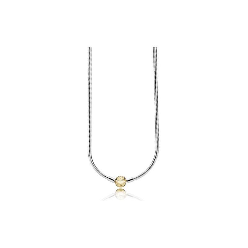 pulsera pandora plata con cierre dorado imagen 1