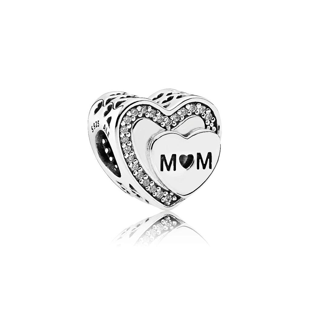 Charm Pandora corazón Mamá Mum 792070cz