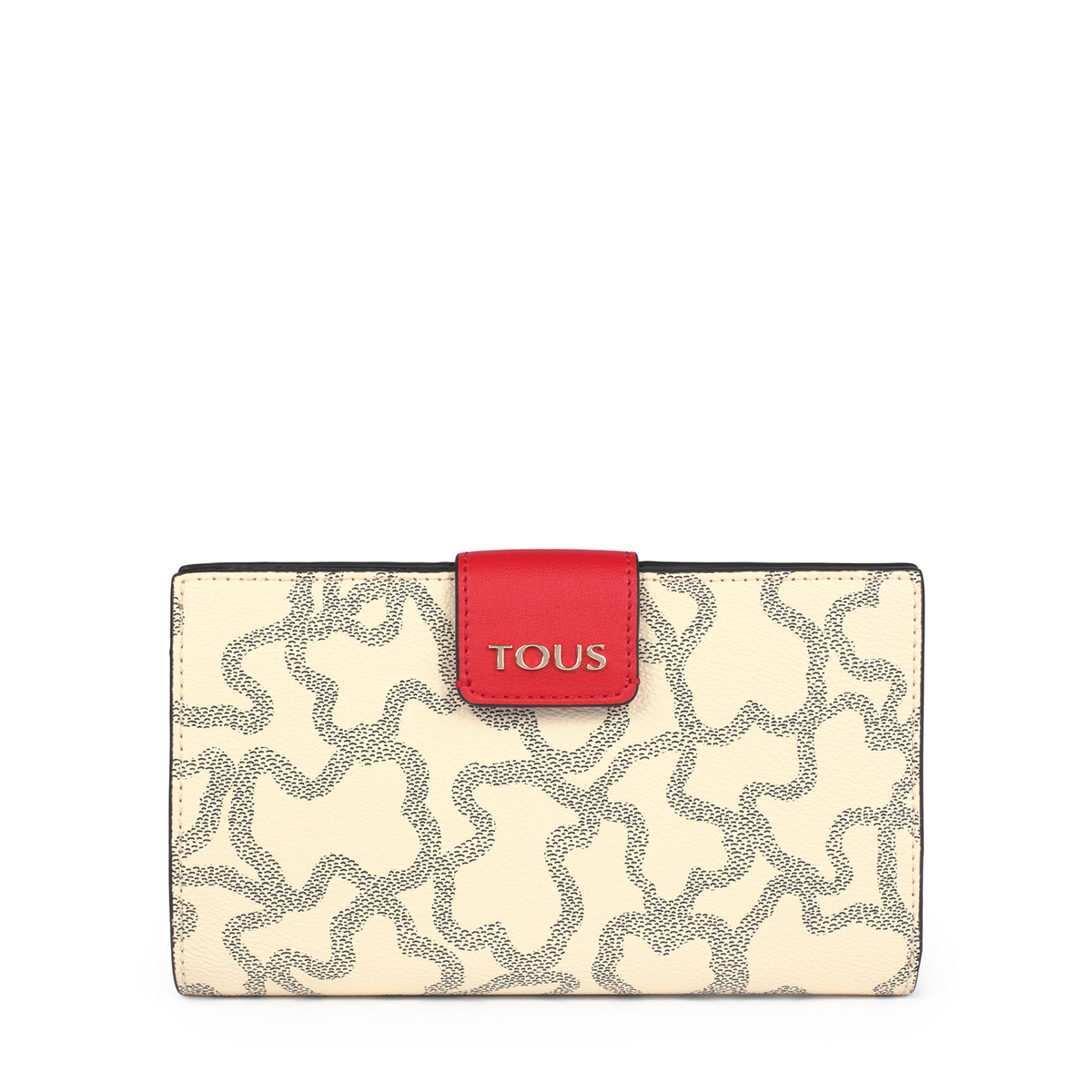 Mediana Billetera Flat Kaos Icon Multi Beige - Rojo