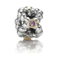 Abalorio Pandora plata y oro con piedra rosa