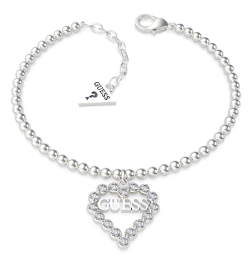 Pulsera Crystals Heart Balls Chain Rh